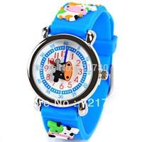 Free Shipping Cute Cow Pattern Cartoon Watch for Children Blue Rubber Watchband Round Dial Mini Shape Children Watches