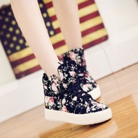 Shoes Woman 2014 New Spring Women's Platform Sports Autumn shoes Increased Flat Heel Female Canvas Sneakers Comfortable Flats