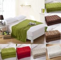 Free shipping 100% cotton fashion knit blanket/throw for sofa/bed  White,Brown,Khaki,Red, Green 180*200cm 180 *110cm