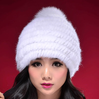 2013 Winter 100% Real Mink Fur Cap, Mink Knitted Hat, Natural Fur NO. SU-1393 FREE SHIPPING