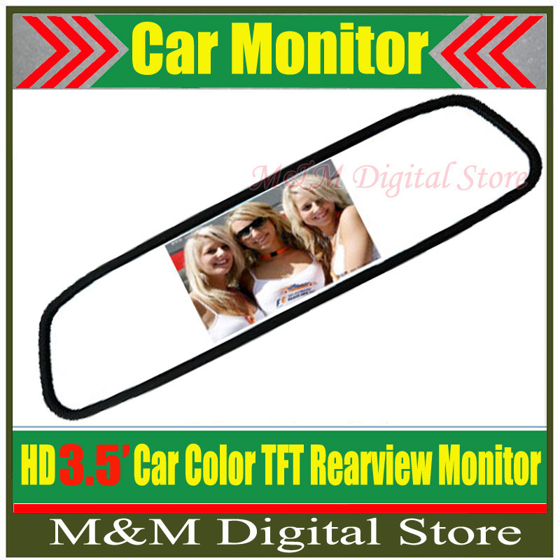 "High resolution 3.5"" Color TFT LCD Car Rearview Mirror Monitor 3.5 inch 16:9 screen car Monitor for DVD Mirror Camera VCR(China (Mainland))"