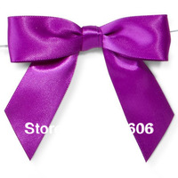 Free Shipping 600pcs/lot Purple Pretied Wrapping Polyester Satin Bows Turquoise
