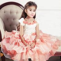 Hot retail new novelty girl party dress lovely girl flower dress children princess dress free shipping YH012
