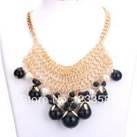 (Minimum $ 10) New 2013 Fashion Women   Resin Alloy Pearl Pendant Necklace Short Paragraph  F27  Free shipping