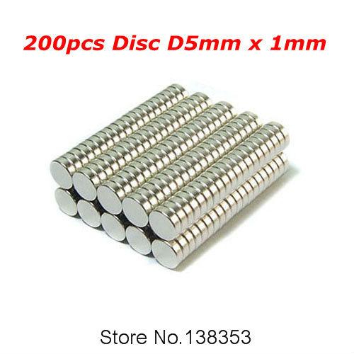 200pcs Bulk Small Round NdFeB Neodymium Disc Magnets Dia 5mm x 1mm N35 Super Powerful Strong Rare Earth NdFeB Magnet(China (Mainland))