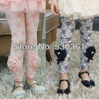 Wholesale New 2015 girls' leggings, full printed rose leggings, kid leggings dimensional diamond flower, leggings for girls