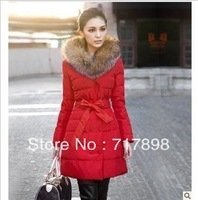 free shipping tops women clothing winter  luxury large fur wadded jacket outerwear cotton-padded jacket female medium-long coat