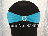 50pcs #7 Turquoise Blue  Lycra Chair Bands&Sash with Oval buckle ,Double Layer Lycra Bands&Sash for Weddings Events Decoration