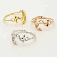 2014 Fashion jewelry beautiful anchor finger vintage ring for women wholesale free shipping.