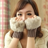 1pair Fashion Winter Arm Warmer Fingerless Gloves, Knitted Fur Trim Gloves Mitten free shipping