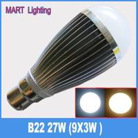 B22 27W high power led globe bulb lamp smd ultra bright led high bay lighting lamps
