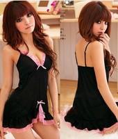 Sexy Black&Pink Lace Lingerie Sleepwear Dress+G-STRING Sexy one size Sleepwear,Underwear Free Shipping Dropshipping W1213