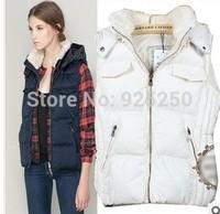 HOT SALE  fashion autumn winter 2014 brand design women thick padding waistcoat women  faux fur hooded vest  plus size outwear