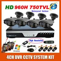Best HD Sony 960H Effio 750TVL High Resolution Outdoor Waterproof CCTV Video Surveillance System 4CH Security Camera System Kit