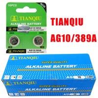 20pcs AG10 389A SGS Certificate TIANQIU Brand 1.55V Alkaline Coin Battery for Watch Calculator Lighter/ Button Cell Batteries