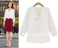 Wholesale 2013 New Fashion Boutique Nine Point Sleeve Chiffon shirt Long Sleeved White Shirt Collar  V 9129 Free Shipping