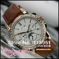2014 new luxury diamond Roman scale business calendar moon phase dual Sapphire Swiss automatic mechanical men's watches P44