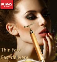 Free Fast shipping Riwa 24k gold ion vibration  beauty massage face-lift device anti-wrinkle thin face stick