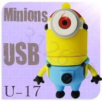 Hot sale U17 Minions 2 Despicable Me Cartoon U Disk 256MB 4GB 8GB 16GB 32GB 64GB USB 2.0 Flash Memory Stick USB Flash Drive