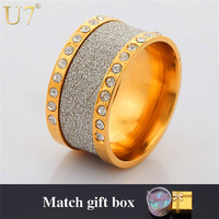 Men Jewelry 18K Real Gold Plated Wedding Bands Party Ring Wholesale New Trendy Frosted Rhinestone Crystal Round Punk Rings R303