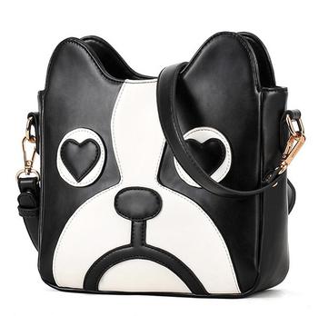 Free shipping Woman Cute Cartoon Dog Head Shoulder bag PU leather casual Crossbody Bag Mini Personalized Handbag tote bagYS636
