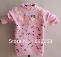 Free shipping 2013 lace bow female child o-neck child sweater basic shirt  3pcs/1 lot