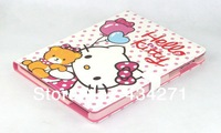 Hot Sale Fashion Cute Cartoon Hello Kitty PU Smart Cover with Magnetic + 7 Colors for iPad 2/3/4 Free Shipping
