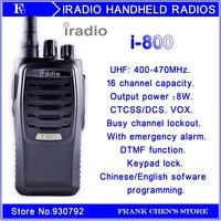 Walkie Talkie IRADIO 8W  Handheld Transceiver IRADIO New Products U Band FM  Transceiver  I-800  Free Shipping