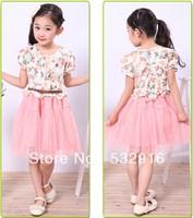 New Fashion Girl's Short-Sleeved Princess Dress Baby Girl Veil Summer Dress Kids Girls Pary Dress With Belt