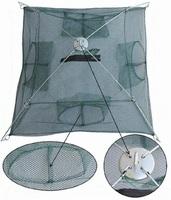 80x80cm Foldable Fishing Gadget Zip Trap Cast Net for crab crawdad minnow shrimp eels loach loster