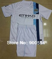 13/14Manchester City away white Soccer Uniforms  high  quality Embroidery Logo Soccer football Shirt with shorts free ship