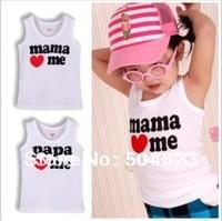 Free Shipping 2pcs/lot I love baba mama baby t shirt,  mama love me papa love me baby vest T Shirts, white kids baby t shirt
