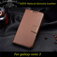 Geniue leather Wallet Style case for samsung galaxy note3 N9000 With Stand 2 Card Holders Free shipping