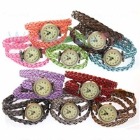 Wholesale Colorful   Antique Girls  Women Lady  Woven Band Bronze  Case Roma Numerals Quartz  Watches 12PCS Lot  Free Shipping