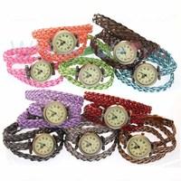 Wholesale Colorful   Antique Girls  Women Lady  Woven Band Bronze  Case Roma Numerals Quartz  Watches 12PCS Lot  Free Shipping