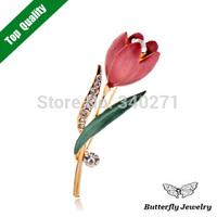 2$ Off Per 12$,Fashion Elegant Enamel Flower Tulips Brooch For Women Jewelry Crystal Brooch Pin Wholesale
