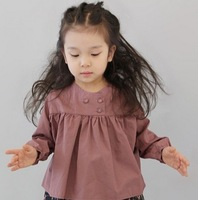Retail 2013 New Summer children clothing,girls korean cotton blouse with button,high quality t-shirt kids clothes free shipping