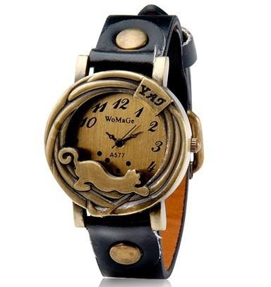 Vintage Cat Face Pattern Leather Women's Round Dial Analog Display Stylish Quartz Wrist Watch Hour clock Strap(China (Mainland))