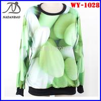 Autumn Fashion Women Hoody Green Sweet Candy  Printed Sweatshirt Long Sleeve Black Milk Loose Sport Suit WY-1028