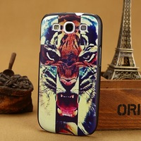3D painting tiger Case for Samsung galaxy S3 SIII & S4 SIV cases S 3 III 4 IV back cover I9300 I9500 Cover skin  PY