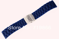 22mm (Buckle 22mm)Cool Man  New High Quality Blue Waterproof Soft  Silicone Rubber Watchband,custom logo silicone watches