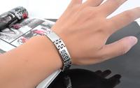 brand sign charm titanium steel men's bracelet silver polished Men Jewelry Gift trendy Wall pattern