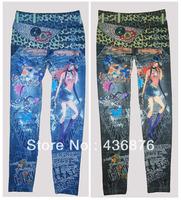 Women's Imitation Jeans Graffiti Cartoon Girl ,Butterfly and Leopard Belt Print Leggings ,Tie Dye Stretch Pants,Free Shipping