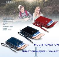 Oil Wax cowhide genuine leather mobile phone bag multifunctional lovers clutch wallet