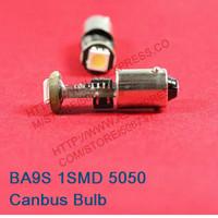 100pcs/Lot BA9S 1SMD 5050 Canbus LED Bulb BA9s 1SMD LED width Lamp no OBC Error LED Light  20pcs/Lot Free shipping