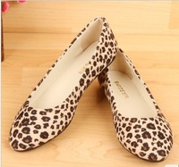 2013 fashionable casual all-match pointed toe flat heel Leopard pattern soft single shoes