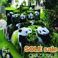 Giant Panda Baby 3D Duvet Cover Set, Reactive Printing 3D Bedclothes,Cotton Queen King Size 3D Bedding, 3D Bedding Sets