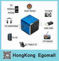 HOT PROMOTION Portable Mini Speaker TF Micro SD USB FM RADIO MP3 MUSIC SPEAKER GIFT Cube JH-MD07U P159