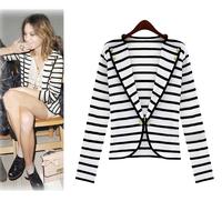 Women White Stripes Cardigan One Button OL Suit Korean Jackets Ladies Outerwear Jacket Blazers 5725