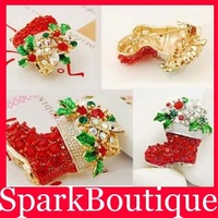 Min Order $10 (Mix Order) Christmas gifts trendy colorful rhinestone Christmas boots brooch,golden brooches for women